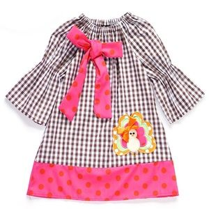 Other - NEW Boutique Plaid Bell Sleeve Turkey DRESS
